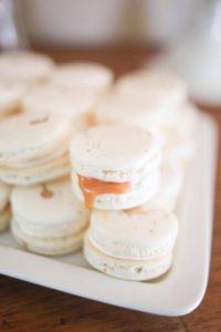 Blush, white, gold macarons