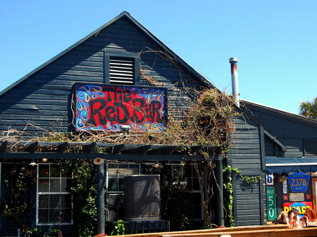 Picture of the exterior of The Red Bar in Grayton Beach: One of 30A's Best Wedding Rehearsal Dinner Spots