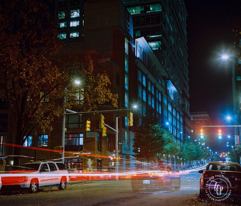 A nighttime photograph using an extended exposure shot