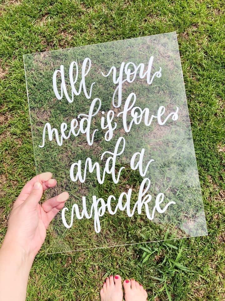 Wedding Calligraphy on Acrylic